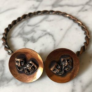 Vintage Copper Bracelet and Matching Earrings